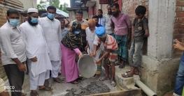 কালাই পৌরসভার তিন নাম্বার ওয়ার্ডে সিসি ঢালাই কাজের উদ্বোধন